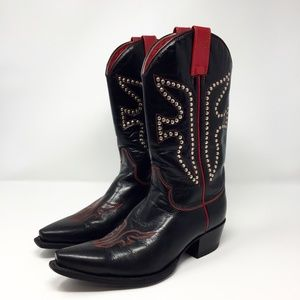 Frye Studded Pull On Cowboy Boots Size 8